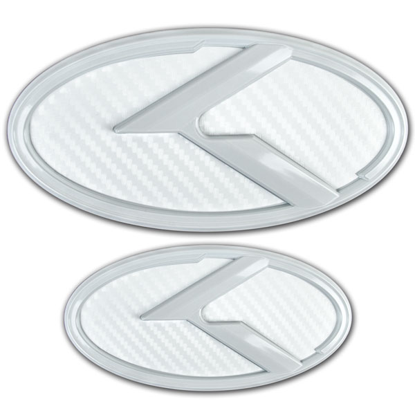 2 WHITE CARBON FIBER K EMBLEMS BADGES FOR KIA TRUNK OR HOOD PAIR